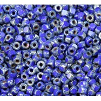 6/0 Matubo 3-Cut Seed Beads, Blue Silver Picasso, 5 Gram Bag