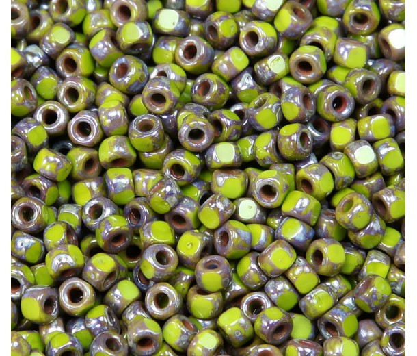6/0 Matubo 3-Cut Seed Beads, Olivine Silver Picasso, 5 Gram Bag