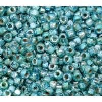 6/0 Matubo 3-Cut Seed Beads, Aquamarine Silver Picasso