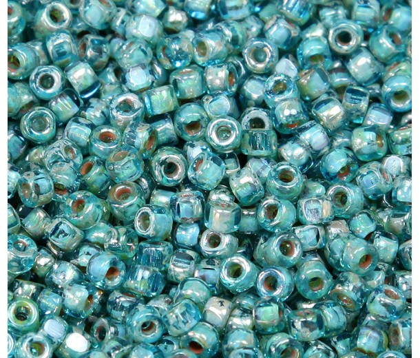 6/0 Matubo 3-Cut Seed Beads, Aquamarine Silver Picasso, 5 Gram Bag