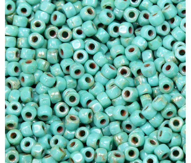 6/0 Matubo 3-Cut Seed Beads, Turquoise Silver Picasso, 5 Gram Bag