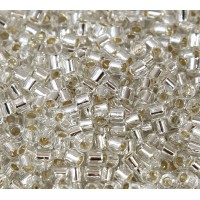 8/0 Miyuki Delica Seed Beads, Silver Lined Crystal