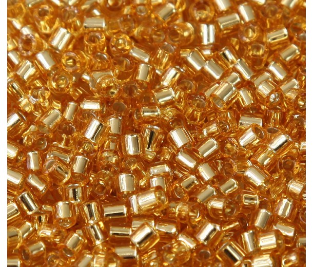 8/0 Miyuki Delica Seed Beads, Silver Lined Gold, 10 Gram Bag