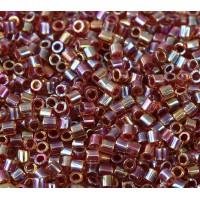 8/0 Miyuki Delica Seed Beads, Rainbow Amber Lined Berry