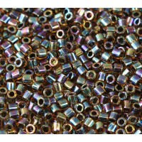 8/0 Miyuki Delica Seed Beads, Rainbow Amber Lined Olive, 10 Gram Bag