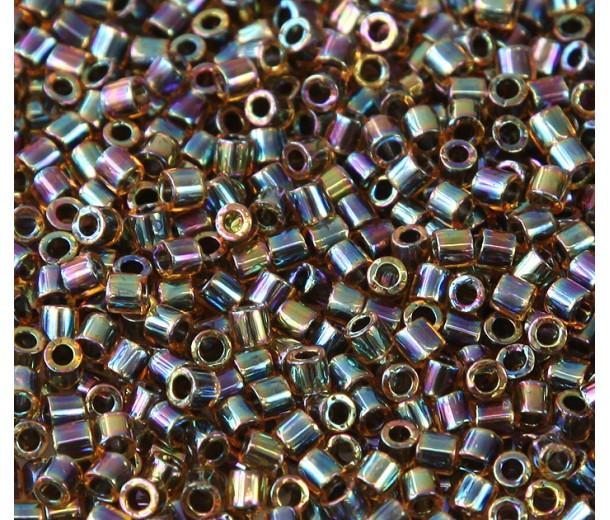 8/0 Miyuki Delica Seed Beads, Rainbow Amber Lined Olive, 10 Gram Bag