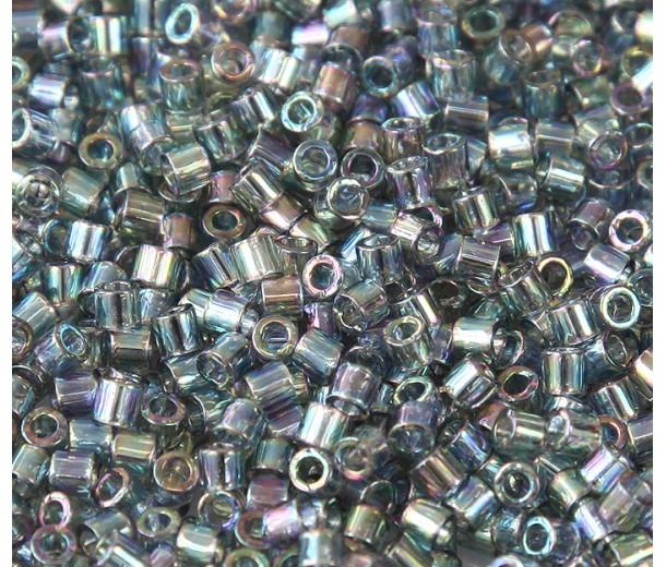 8/0 Miyuki Delica Seed Beads, Luster Rainbow Light Steel, 10 Gram Bag
