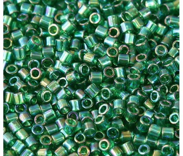 8/0 Miyuki Delica Seed Beads, Rainbow Kelly Green, 10 Gram Bag