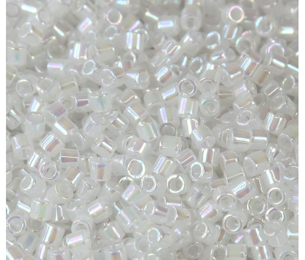 8/0 Miyuki Delica Seed Beads, Rainbow White Opal, 10 Gram Bag