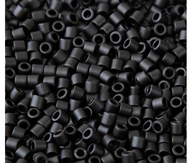 8/0 Miyuki Delica Seed Beads, Matte Black, 10 Gram Bag