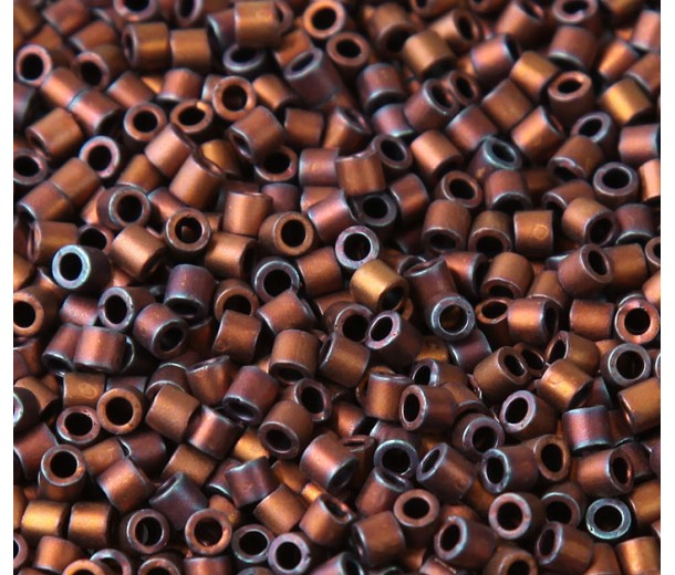 8/0 Miyuki Delica Seed Beads, Matte Rainbow Copper, 10 Gram Bag