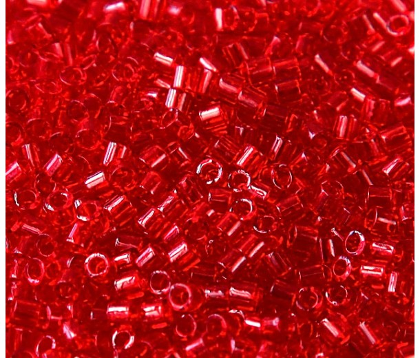 8/0 Miyuki Delica Seed Beads, Transparent Red