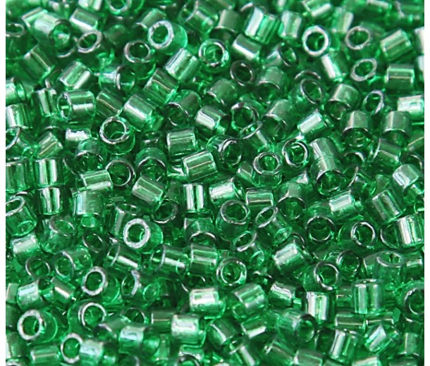 8/0 Miyuki Delica Seed Beads, Transparent Kelly Green, 10 Gram Bag