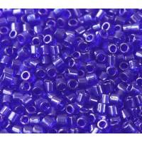 8/0 Miyuki Delica Seed Beads, Transparent Cobalt Blue, 10 Gram Bag