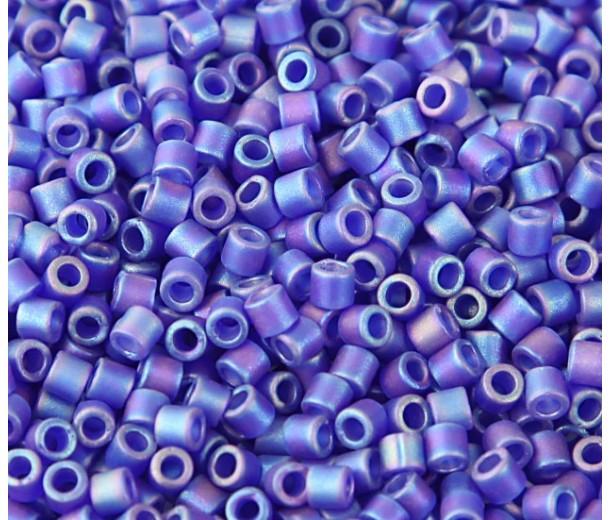 8/0 Miyuki Delica Seed Beads, Matte Rainbow Cobalt Blue, 10 Gram Bag