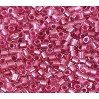 8/0 Miyuki Delica Seed Beads, Peony Pink Sparkle Lined, 10 Gram Bag