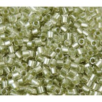 8/0 Miyuki Delica Seed Beads, Peridot Green Sparkle Lined, 10 Gram Bag