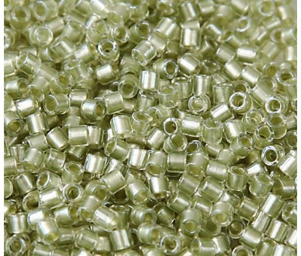 8/0 Miyuki Delica Seed Beads, Peridot Green Sparkle Lined, 10 Gram Bag