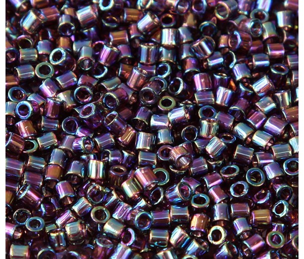 8/0 Miyuki Delica Seed Beads, Rainbow Dark Amethyst, 10 Gram Bag