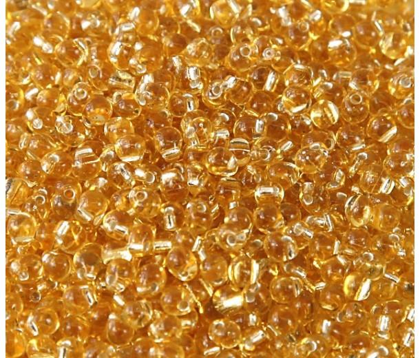 3.4mm Miyuki Drop Beads, Silver Lined Gold, 10 Gram Bag
