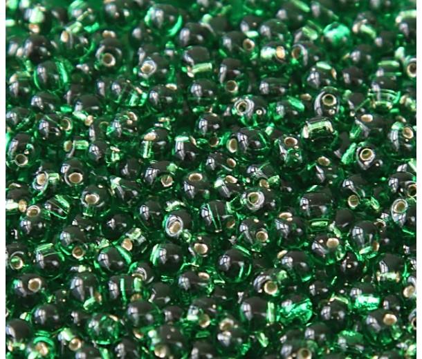 3.4mm Miyuki Drop Beads, Silver Lined Kelly Green, 10 Gram Bag