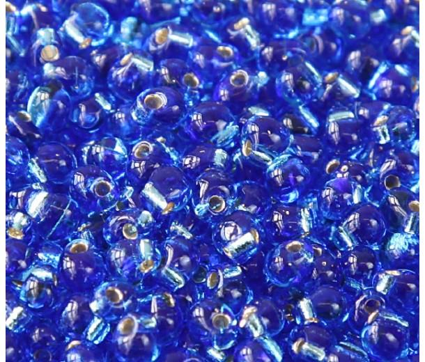 3.4mm Miyuki Drop Beads, Silver Lined Sapphire Blue, 10 Gram Bag