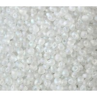3.4mm Miyuki Drop Beads, Matte Rainbow Crystal, 10 Gram Bag