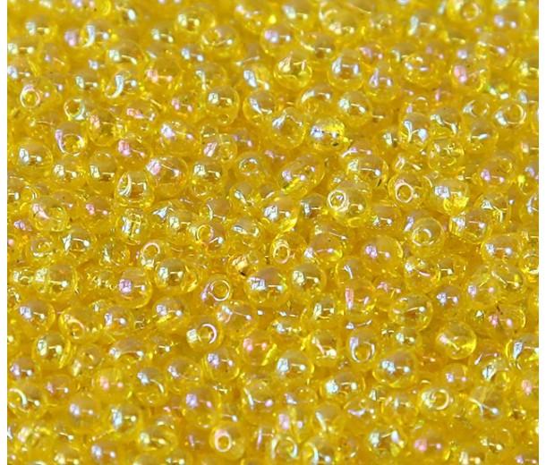 3.4mm Miyuki Drop Beads, Rainbow Yellow, 10 Gram Bag