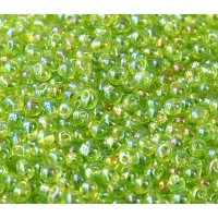 3.4mm Miyuki Drop Beads, Rainbow Light Green, 10 Gram Bag