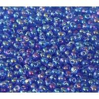 3.4mm Miyuki Drop Beads, Rainbow Sapphire Blue, 10 Gram Bag