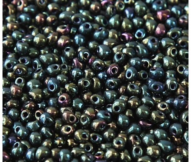 3.4mm Miyuki Drop Beads, Rainbow Metallic Green, 10 Gram Bag