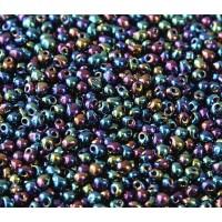 3.4mm Miyuki Drop Beads, Rainbow Metallic Emerald, 10 Gram Bag