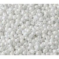 3.4mm Miyuki Drop Beads, Rainbow White, 10 Gram Bag