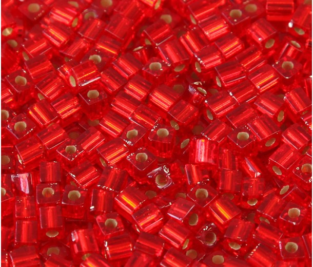 4mm Miyuki Square Beads, Silver Lined Red, 10 Gram Bag