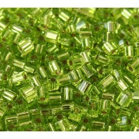 4mm Miyuki Square Beads, Silver Lined Lime Green, 10 Gram Bag