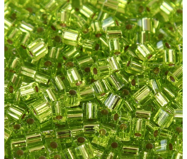 4mm Miyuki Square Beads, Silver Lined Lime Green, 10 Gram Bag