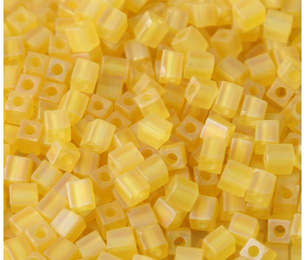 4mm Miyuki Square Beads, Matte Rainbow Yellow, 10 Gram Bag