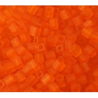 4mm Miyuki Square Beads, Matte Orange, 10 Gram Bag