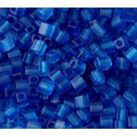 4mm Miyuki Square Beads, Matte Blue, 10 Gram Bag