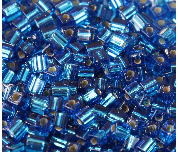 4mm Miyuki Square Beads, Silver Lined Blue, 10 Gram Bag