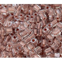 4mm Miyuki Square Beads, Mocha Lined Crystal, 10 Gram Bag