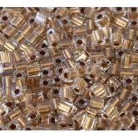 4mm Miyuki Square Beads, Gold Lined Crystal, 10 Gram Bag
