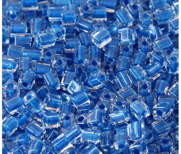 4mm Miyuki Square Beads, Royal Blue Lined Crystal, 10 Gram Bag