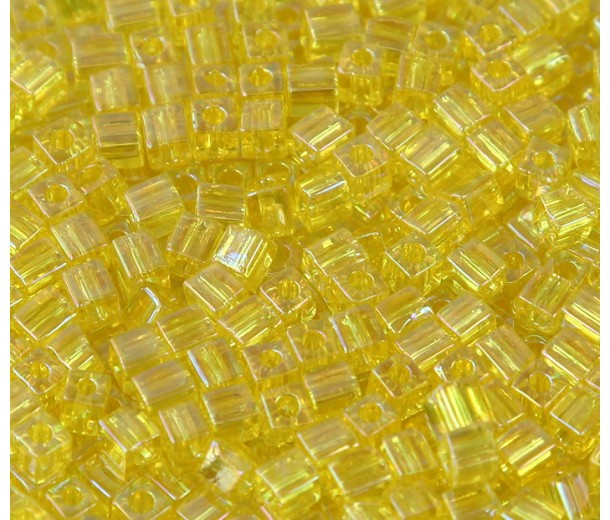 4mm Miyuki Square Beads, Rainbow Yellow, 10 Gram Bag