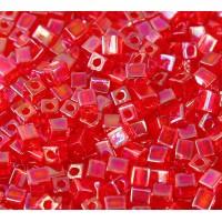 4mm Miyuki Square Beads, Rainbow Berry Red, 10 Gram Bag