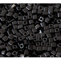 4mm Miyuki Square Beads, Opaque Black, 10 Gram Bag