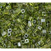 4mm Miyuki Square Beads, Olive Lined Peridot, 10 Gram Bag
