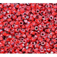 6/0 Matubo 3-Cut Seed Beads, Red Silver Picasso, 5 Gram Bag