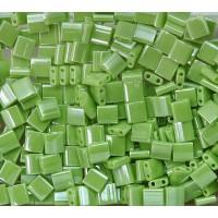 5x5mm Miyuki Tila Beads, Chartreuse Luster, 7.2 Gram Tube