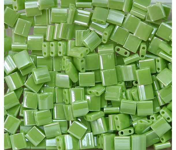 5x5mm Miyuki Tila Beads, Lime Green Luster, 10 Gram Bag